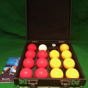 Aramith Premier 2″ Reds & Yellows with Plain White Ball & Carry Case