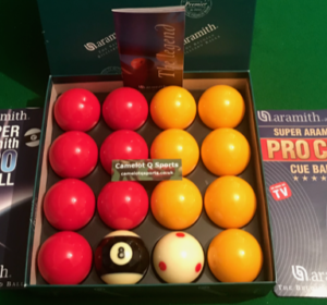 Aramith Premier 2″ Reds & Yellows Pro Cup Addition White & Stripe 8 Ball