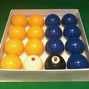 Camelot 2 Inch Blues & Yellows Pool Balls with a Spotted White Ball