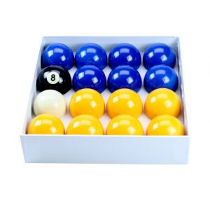 Camelot 2 Inch Blues & Yellows Pool Balls with a Plain White Ball