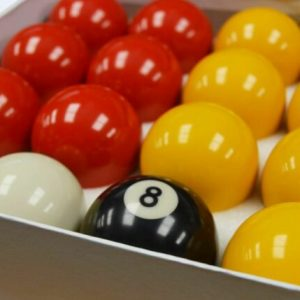 Camelot 2 Inch Reds & Yellows Pool Balls with a Plain White Ball