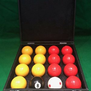 Camelot Reds & Yellows Pool Balls With Red Spotted White & Carry case