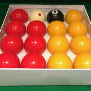 Camelot 2 Inch Reds & Yellows Pool Balls with a Spotted White Ball