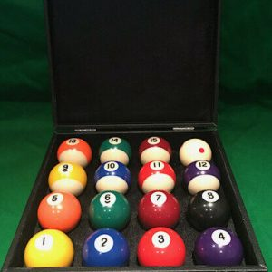 Camelot Spots & Stripes Pool Balls With Red Spotted White & Carry case